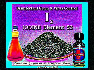 IODINE ELEMENT Crystals 99.8% 60gm / 2oz. ACS 99.8% for disinfecting & wounds