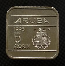 Aruba 5 Florin Coin 1995 edition. KM12. South America. UNC Square coin.