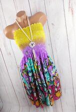 DRESSARA ITALY Trägerkleid Smok Kleid Strandkleid Butterfly lila 2XS-M 32-38