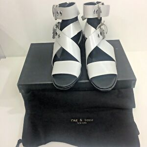 rag & bone Madrid Crisscross Sandal Silver Shoes Sz 7 37 Gladiator Leather $450