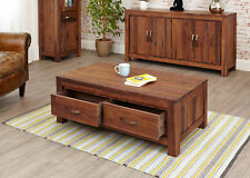 Mayan Solid Walnut Dark Wood Coffee Table With 4 Drawers