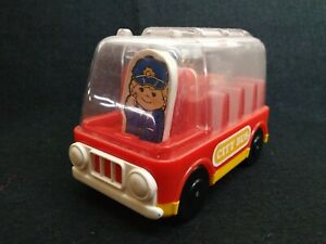 Vintage Toy Bus from Hustle Bustle Push Button Bus Stop Playset 1977 by TOMY Toy