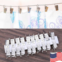 100pcs Stainless Steel Shower Bath Window Curtain Rod Clips Hook Clips Rings ##