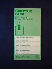 Horse racing - Race Card - Kempton  - April 20th 1992 - Easter Meeting
