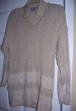 Preowned P1 Galia Size Large Long V Neck Sweater side split  Khaki  used sueter