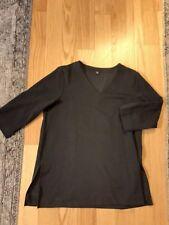 Uniqlo Large Shirt Top Blouse Tunic Black Knit Quarter Sleeve V Neck Sweater