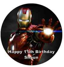 """Iron Man Marvel Avengers Personalised Cake Topper 7.5"""" Edible Wafer Paper"""