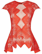 Jonathan Simkhai Red Dome Panel Sheer Lace Top Size S $571 Current