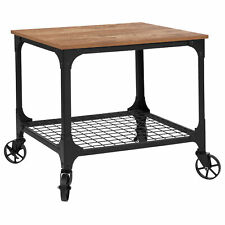 Grant Park Rustic Wood Grain and Industrial Iron Kitchen Serving and Bar Cart