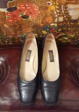 Bally Navy Leather Pumps, Brogue Style, Size 7