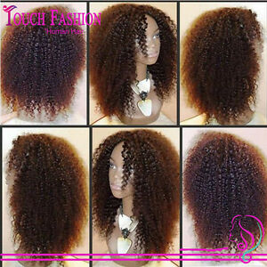 Brazilian afro kinky Live Curl Remy Human Hair Density 160% Full/Front Lace Wig