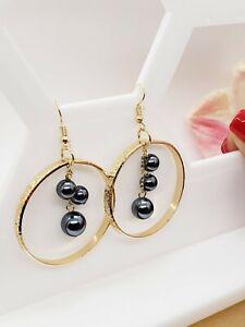 Hawaiian Hoop Black Pearl Earrings