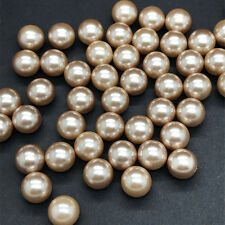 50 pcs 8mm  No Hole Round Pearl Loose Acrylic Beads Jewelry Making Light brown