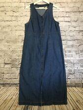 Eddie Bauer Snap Front Sleeveless Maxi Long Denim Dress Size Petite Medium