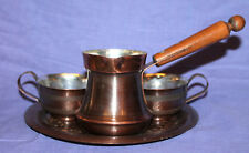 Hand made serving coffee copper set pot, 2 cups and tray