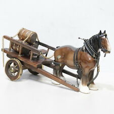 Vintage BESWICK Horse With Harness And Wooden Cart Carrying Barrels - 232