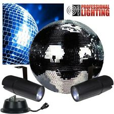 "12"" Disco Mirror Ball Complete Party Kit with 2 LED Pinspots and Motor - Adkins"