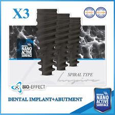 3 Dental Implants Nano ActiveⓇ Spiral Type+3 Straight Abutments Internal Hex