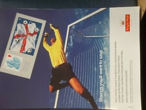 ROYAL MAIL A4 POST OFFICE POSTER 2002  FOOTBALL WORLD CUP MINIATURE SHEET