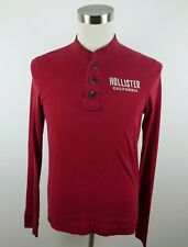 Hollister Mens Cotton Long Sleeve Solid Red Henley T Shirt Large