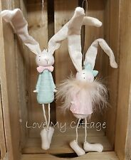 Cute SET 2 BOY & GIRL Pastel EASTER BUNNY HANGING Resin Tree Decoration Gift