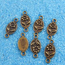**38120 10pcs Vintage Bronze Tone Alloy Oval Flower Charm Connector Finding