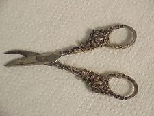 Pair Antique Elaborate Grapevine Design Sterling Silver Handle Grape Shears