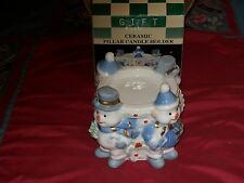 CHRISTMAS CERAMIC PILLAR CANDLE HOLDER BLUES & WHITE WITH HIGHLIGHTS, UNSCENTED