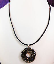 "Steampunk Gun Metal 1 1/8"" Woven Wire Donut Leather Cord Necklace NEW"