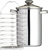 Kitchen Craft Stainless Steel Asparagus Pan With Steaming Basket & Glass Lid