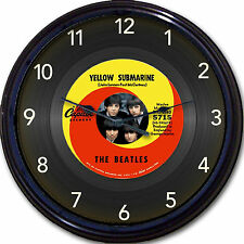 The Beatles Yellow Submarine Retro Wall Clock Image of Vinyl 45 RPM Record 10""