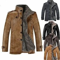Men Fleece Winter Warm Jacket PU Leather Fur Parka Trench Coat Outwear Top