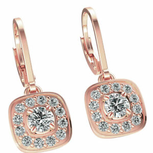 Drop Lever Halo Earrings Ladies Natural Round Diamond 1ctw Solid 14K Gold