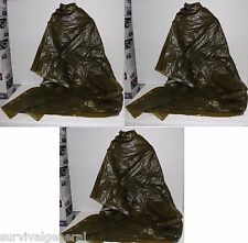 (3) Military Army Norwegian Emergency Survival Green OD Poncho Wet Rain Weather