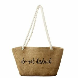 Tickled Pink Beach Tote Bag DO NOT DISTURB Straw Rope Handles 18x11 Inches Purse