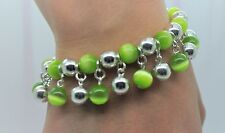 NEW  PERIDOT CAT EYE/ SILVER ROUND BEAD CUTE FASHION STRETCH CHARMS BRACELET