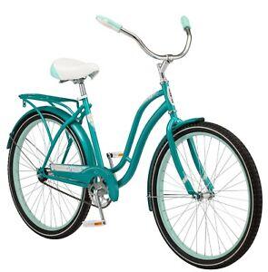 "Schwinn Huntington Cruiser Bike 26"" wheels single speed women teal rear rack new"