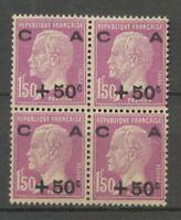 1928 France Caisse Amortissement N°251 +50 s 1f 50 lilas Bloc de 4 N**  X3580
