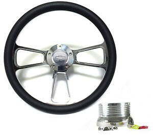 """1970 -1973 Chevy C10 Pick Up Truck 14"""" Black Steering Wheel, Chevy Horn, Adapter"""