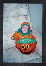 Vintage Photograph Adorable Little Baby in Pumpkin Costume - Halloween