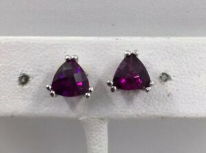 AMETHYST - TRILLIANT 14K WHITE GOLD EARRINGS - PIERCED (J1111)