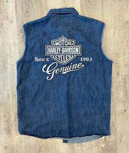 Vintage Harley Davidson Denim Vest Shirt Biker Size L