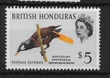 BRITISH HONDURAS SG213 1962 BIRD $5 DEFINITIVE MNH