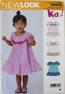 New Look 6629 Girls Toddlers Dresses Sewing Pattern Sz 1/2-4