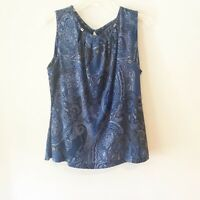 Tommy Hilfiger Womens Sleeveless Blouse Top Blue Paisley Pattern Size Large