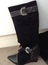 NEW ladies black wedge boots-size 41/8