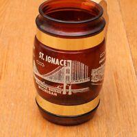 Vintage  Siesta Ware Brown Glass Mackinac Bridge Beer Mug Wood Handle