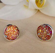 12mm Sparkly Orange Druzy Earrings Studs Bridesmaid GIFT Jewellery Birthday