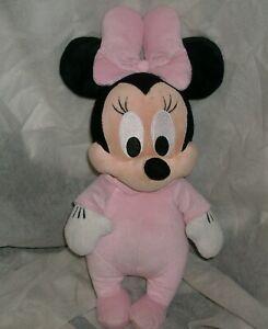 "14"" DISNEY BABIES MINNIE MOUSE STUFFED ANIMAL PLUSH TOY DOLL PINK PAJAMAS BABY"