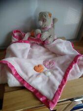 Doudou couverture chat Babette rose gris cœurs Noukie's Noukies état neuf
